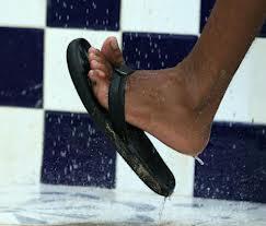 flip flops in shower