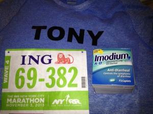 Got my number - check. Got my Shirt - check. Got my Imodium AD 72 pack - CHECK CHECK CHECK!!!