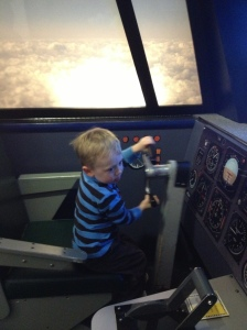 My son in an x wing fighter