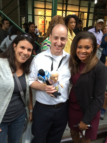 Here's us introducing AJ Ross of ABC News to The Pope Doll.