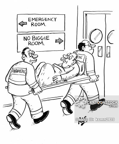 Injured man sees that he is being taken to the 'No Biggie Room', as opposed to the 'Emergency Room.