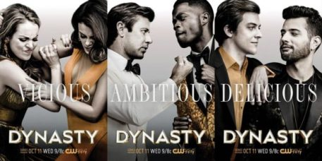 Dynasty -- Image Number: DYNL01_KEY1.MH.0005.jpg -- Pictured: Elizabeth Gillies as Fallon Carrington, Nathalie Kelley as Cristal Flores, Grant Show as Blake Carrington, Sam Adegoke as Jeff Colby, James Mackay as Steven Carrington, and Rafael de la Fuente as Sammy Jo -- Photo: Marc Hom /The CW -- © 2017 The CW Network. All Rights Reserved