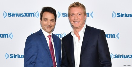 NEW YORK, NY - MAY 01: Ralph Macchio (L) and William Zabka visit SiriusXM Studios on May 1, 2018 in New York City. (Photo by Dia Dipasupil/Getty Images)